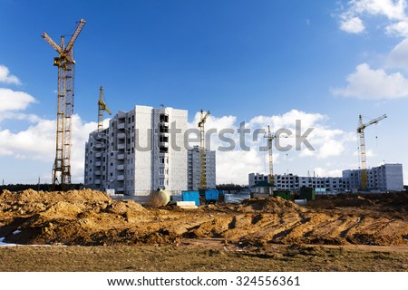 construction of a new residential building in the small town. Belarus