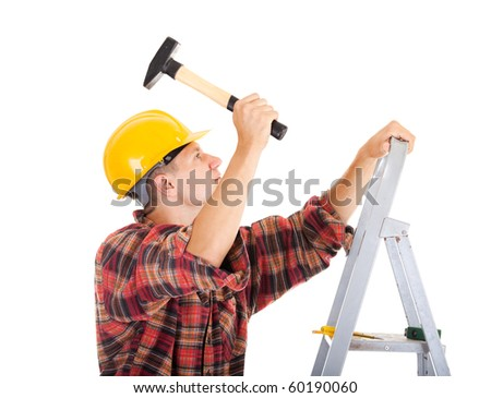 construction worker isolate on white - stock photo