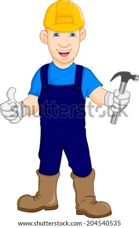 Construction worker repairman thumb up - stock photo