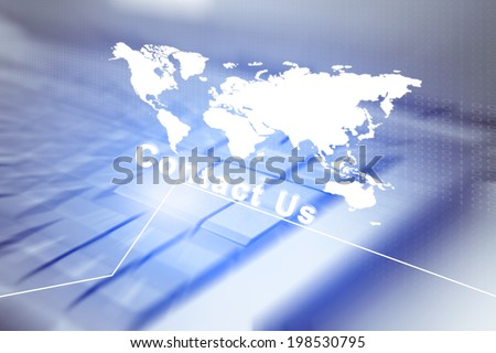 Contact Us On Computer Keyboard Background,For Digital Business Concept And Ideas  - stock photo