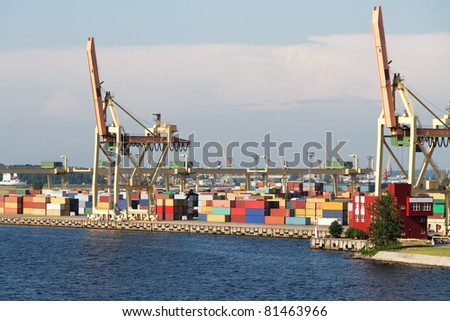 Container terminal. - stock photo