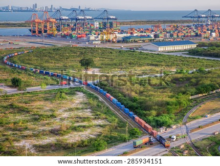 Container transportation with an intermodal freight train - stock photo