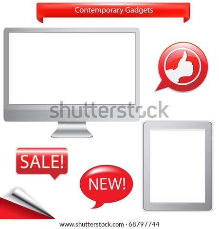 2 Contemporary Gadgets - Computer And Fictitious Touch Tablet, Isolated On White Background - stock photo