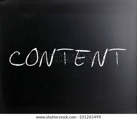 """""""Content"""" handwritten with white chalk on a blackboard. - stock photo"""