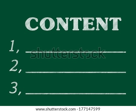 """""""content"""",Writing with chalk - stock photo"""