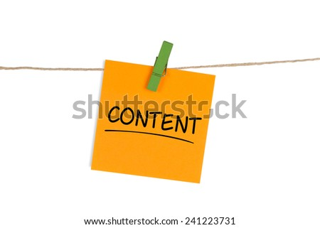 """Content"" Written on Sticky Note"