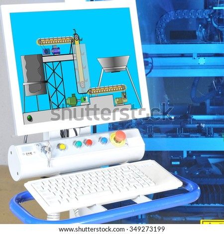 control panel  modern machine. High precision  with display - stock photo