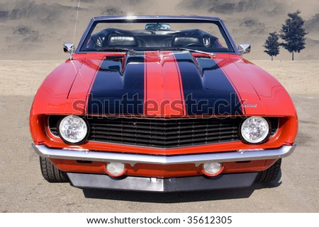 1969 convertible camaro - stock photo