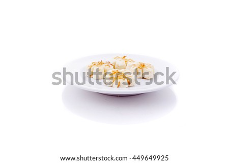 cookies in plate isolated on white background, top view. Sweet bakery products. Round cookies in a plate.