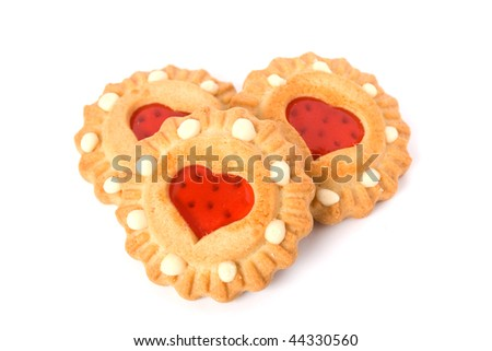 cookies with heart isolated on white