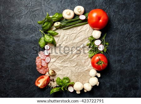 Cooking, Healthy Eating, Vegetarian concept. vegetables and spices on dark background. Top virw, copy space - stock photo