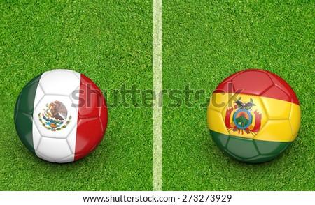 2015 Copa América football tournament, teams Mexico vs Bolivia - stock photo