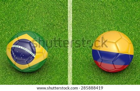 2015 Copa America football tournament, teams Brazil vs Colombia - stock photo