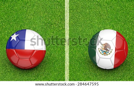 2015 Copa America football tournament, teams Chile vs Mexico - stock photo