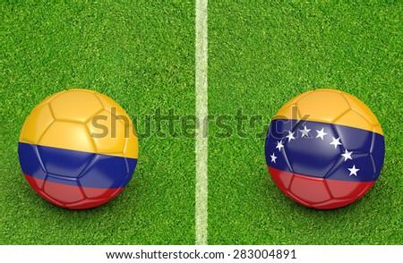 2015 Copa America football tournament, teams Colombia vs Venezuela - stock photo
