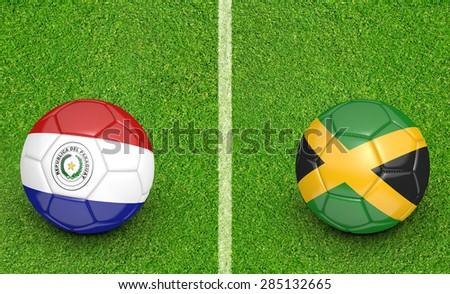 2015 Copa America football tournament, teams Paraguay vs Jamaica - stock photo