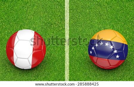 2015 Copa America football tournament, teams Peru vs Venezuela - stock photo