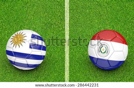 2015 Copa America football tournament, teams Uruguay vs Paraguay - stock photo