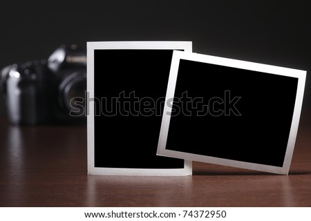 copy space of paper in front of camera - stock photo