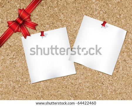 Cork bulletin board with ribbon illustration (jpg) also available vector version of this image - stock photo