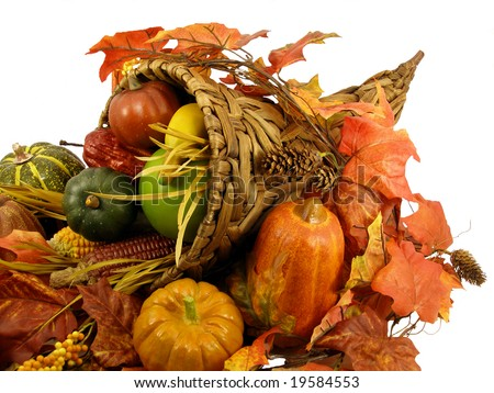Cornucopia: Thanksgiving decoration, horn of plenty isolated on white background