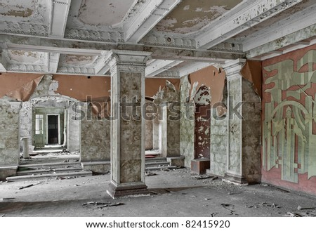 corridor in an old abandoned building - stock photo