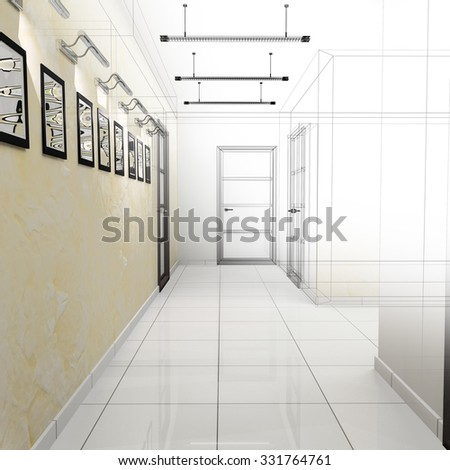 Corridor in modern office. 3 d  rendering