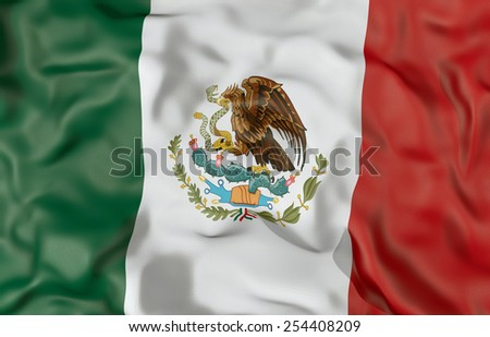 Corrugated Mexico flag 3D illustration - stock photo