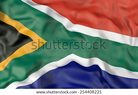 Corrugated South Africa flag 3D illustration - stock photo