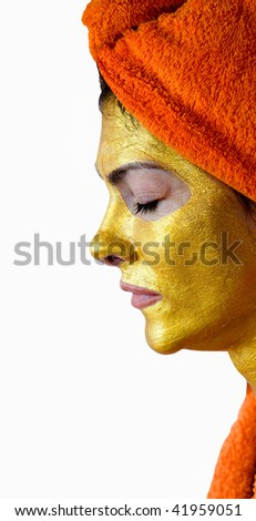 Cosmetic mask on the person of the adult woman