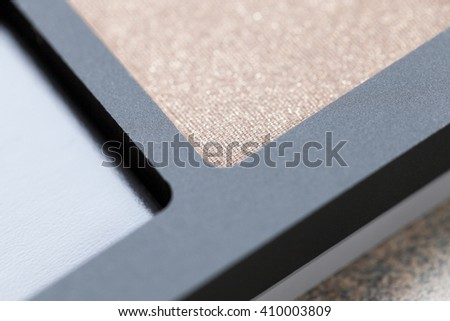 cosmetics for makeup on eyes, eye shadow close-up, Defocus - stock photo