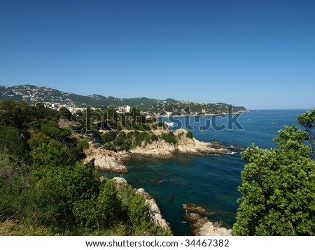 Costa Brava landscape coastline Lloret de Mar Catalonia, Spain