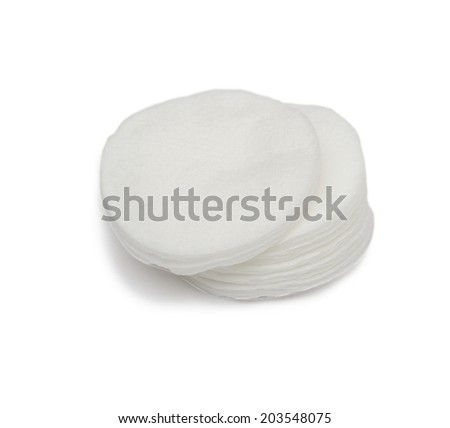 cotton pad on the white background - stock photo