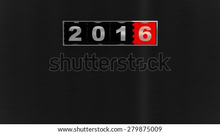 2016 counter on black brushed metal plate. New Year concept illustration. Render image.