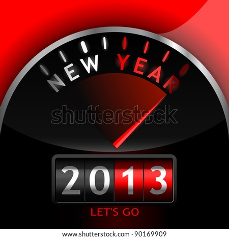 2013 counter on the dashboard - stock photo