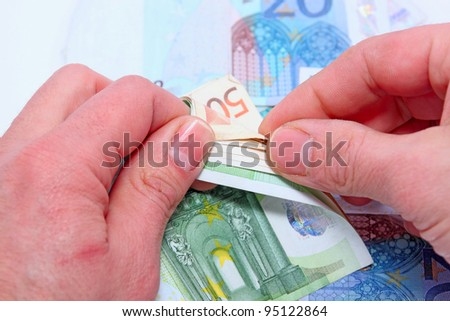 counting money closeup - stock photo