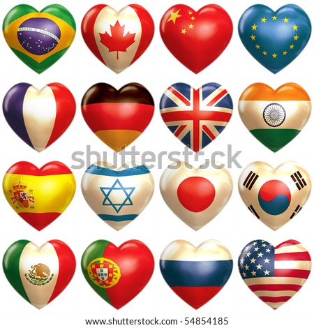 16 countries hearts in 3d - stock photo
