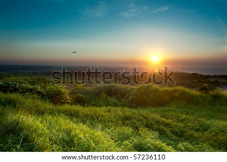 Country road sunset - stock photo