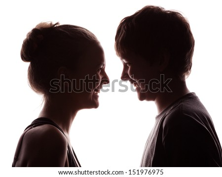 couple in silhouette shadow of the young in love isolated on a white - stock photo