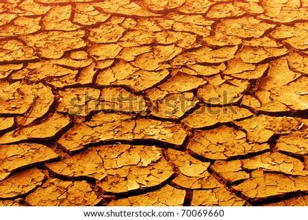 Cracks   ground  disaster   desert - stock photo