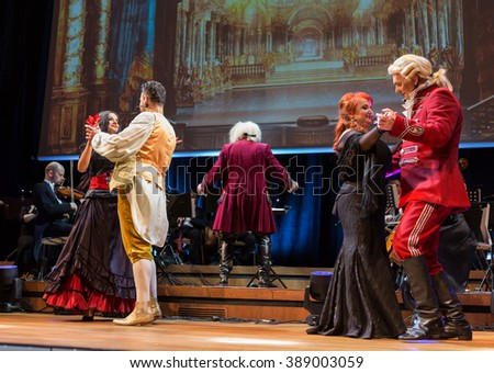 CRACOW, POLAND - FEB 27, 2016: Spectacle featuring Filharmonia Futura and M.  Walewska - Opera Is Life, or in other words: lies, love, betrayal and death in the greatest opera dramas of all times - stock photo