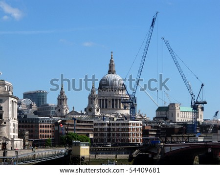 cranes over the london skyline - stock photo
