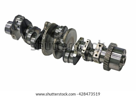 crankshaft of the diesel engine on a white background - stock photo