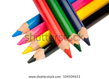 4 crayons in basic colors CMYK and RGB, isolated on white background