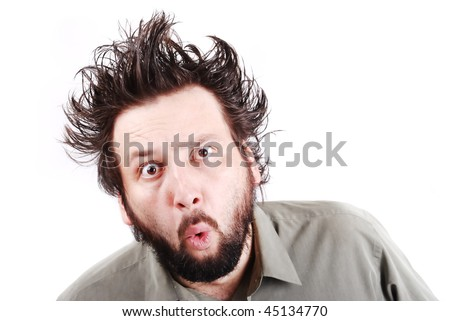 crazy young businessman facial expression, man with long hair up isolated, crazy, mad, funny, shocked, surprised - stock photo