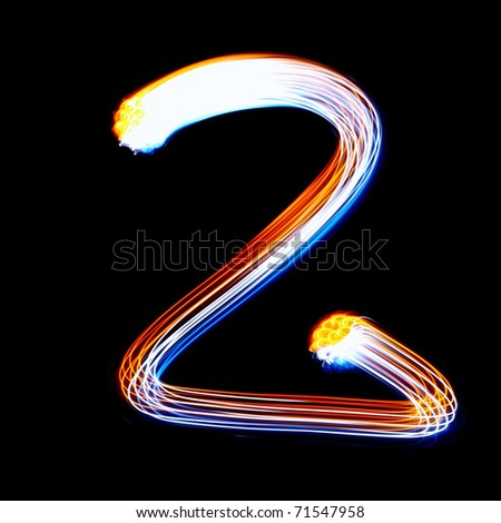 2 - Created by light colorful digits over black background - stock photo