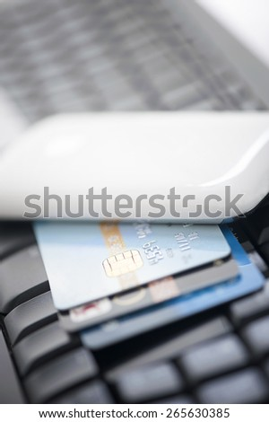 Credit Card on a Computer Keyboard - stock photo
