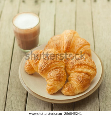Croissants with Hot Chocolate. - stock photo