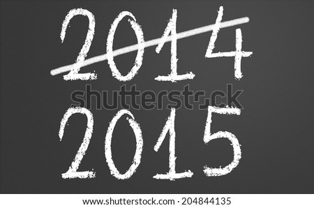 2014 crossed and new year 2015 written on chalkboard - stock photo