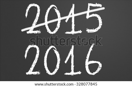 2015 crossed and new year 2016 written on chalkboard - stock photo